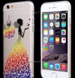 Чехлы для iPhone 6 6S и 6 6S Plus силиконовые с кристаллами и бабочками