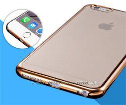 Чехлы для iPhone 6 6s Plus силикон с цветной окантовкой, чехол прозрачный