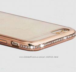 Чехлы силиконовые для iPhone 6 6s Plus ободок со стразами, чехол