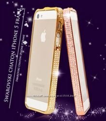 Бампер с камнями Swarovski iPhone 5 5S SE, ободок со стразами