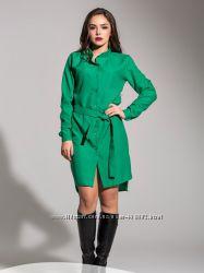 Модное платье-рубашка, новое, размер М цвет зеленый