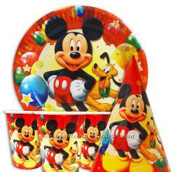 Одноразовая бумажная тематическая посуда в стиле Микки Маус
