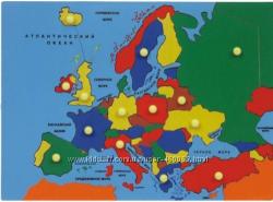 Вкладыши  Карта Европы с подслоем флора, фауна укр.