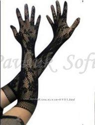 Перчатки длинные ажурные кружевные
