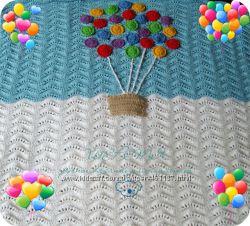 Вязаное шерстяное одеяльце с воздушными шарами