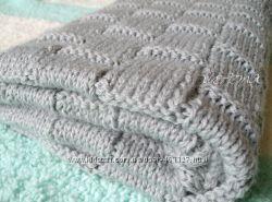 Вязаное одеяльце меринос с кашемиром