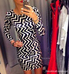 платье H&M обстракция стильное карандаш