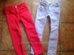 Стильные джинсы на красотку, узкачи, красные и с цветами