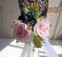 Свадебные бокалы ручной работы Черничная любовь