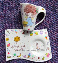 Чайний набір Радощі-солодощі. Ручний розпис посуду