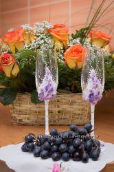 Свадебные бокалы ручной работы под заказ