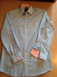 новая мужская рубашка в клетку, размер 38