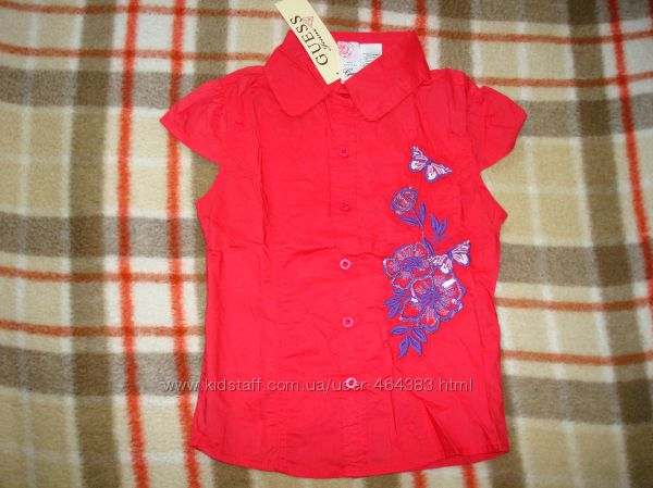 Блузки GUESS для девочек,  красная, на 8 лет , арт.82157