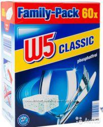 Акция Таблетки, соль, ополаскиватель для посудомоечных машин W5