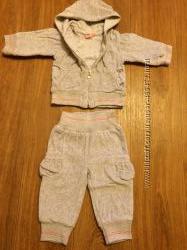 гламруный велюровый спортивный костюм для малышки