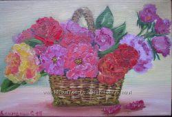 Картина Корзинка с розами, холст, масло, 20 на 30 см