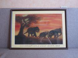 Картина семья слоников, тонированная бумага, пастель, 55, 5 на 39, 5 см