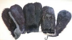 меховые варежки из козы