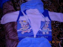 Детский махровый костюмчик-троечка для мальчика р. 74-80см
