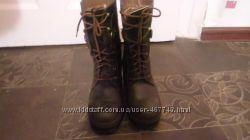 Кожаные зимние высокие ботинки с натуральным мехом