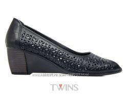 Кжаные женские летние туфли с перфорацией