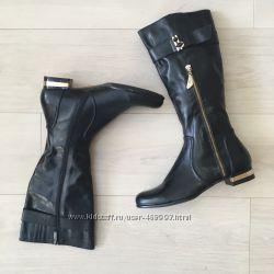 Кожаные женские черные осенние сапоги Скидка