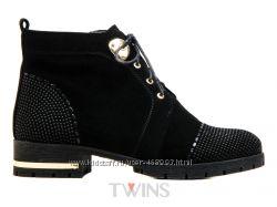 Замшевые демисезонные женские на низком ботинки без каблука LONZA BIG ROPE