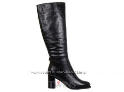 Кожаные черные зимние сапоги европейка на толстом каблуке GOTTI BERLONI