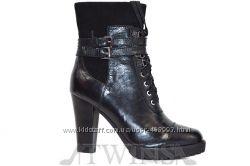 Кожаные зимние ботинки на цигейке на толстом каблуке и платформе BIG ROPE