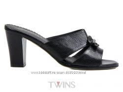Кожаные женские шлепки сабо на каблуке