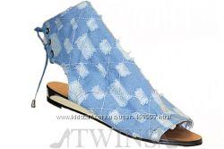 Тканевые женские сандалии с перфорацией лето 2013