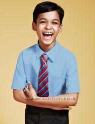 Рубашки M&S, с длинным и коротким рукавом, белые и голубые, Slim, Regular.