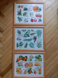 Картина для кухни. Овощи. Цитрусовые. Специи и пряности. Вышивка крестиком