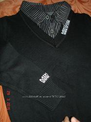 Новый Свитер Турция мальчику с обманкой рубашкой. Качество. 92-98р.