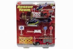 Набор Спасательная служба с вертолетом и пожарной машиной Dickie