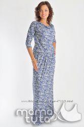 Платье макси Огурцы в двух цветах ТМ МамаТута