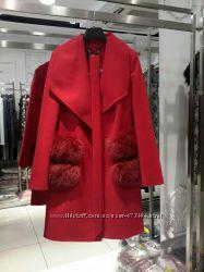 Кашемировое пальто с меховыми карманами Бренд Турция