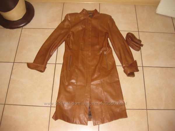 Кожаное турецкое пальто ф Trade Mark р 42-46 или М.