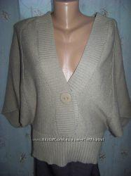 Бежевый и серый свитер-пончо-кардиган