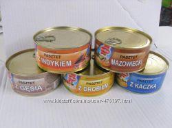 Паштет консервы Польша 300 гр курица гусь индюк утка мазовецкий