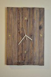 Деревянные часы. Современный дизайн. Лофт.