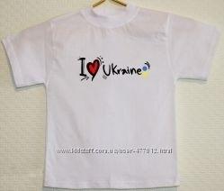 Футболка детская с надписью Love Ukraine размеры от 122-128 до 134-140см.