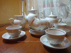 Перламутровый кофейный сервиз, 15 предметов  в отличном состоянии