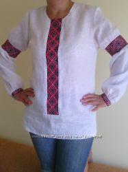Рубашка вышиванка - ручная работа лен молодежного фасона для пышных форм. d61d8e53b119f