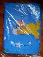 детское постельное белье голубое в мишках хлопок