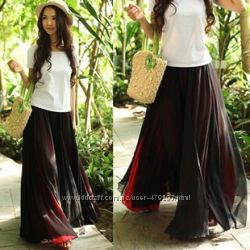 Двухслойная длинная шифоновая юбка