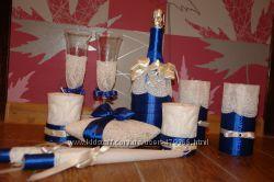 Свадебные бокалы, свечи, подушечка, шампанское