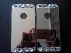 Зеркальный силиконовый чехол с камнями для iphone 6, 6s Plus в наличии