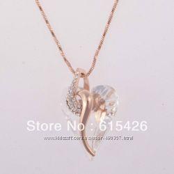 Подвеска алмазное сердце цепочка 18К