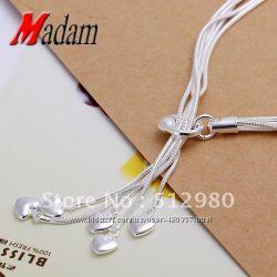 Набор сердечки ожерелье браслет 925 серебро